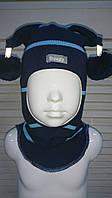 Шапка-шлем демисезонная на мальчика Арлекин синий-голубой