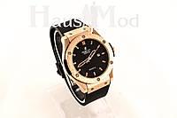 Мужские Наручные часы  Hublot  Черные с золотым корпусом ( Копия бренда)