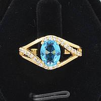 Восхитительное кольцо с фианитами ХР 10-1070-голубой-17