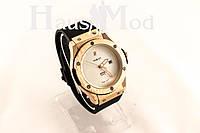Мужские Наручные часы  Hublot черные  с золотым корпусом( копия бренда)