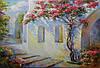 «Цветущие улочки Греции» картина маслом
