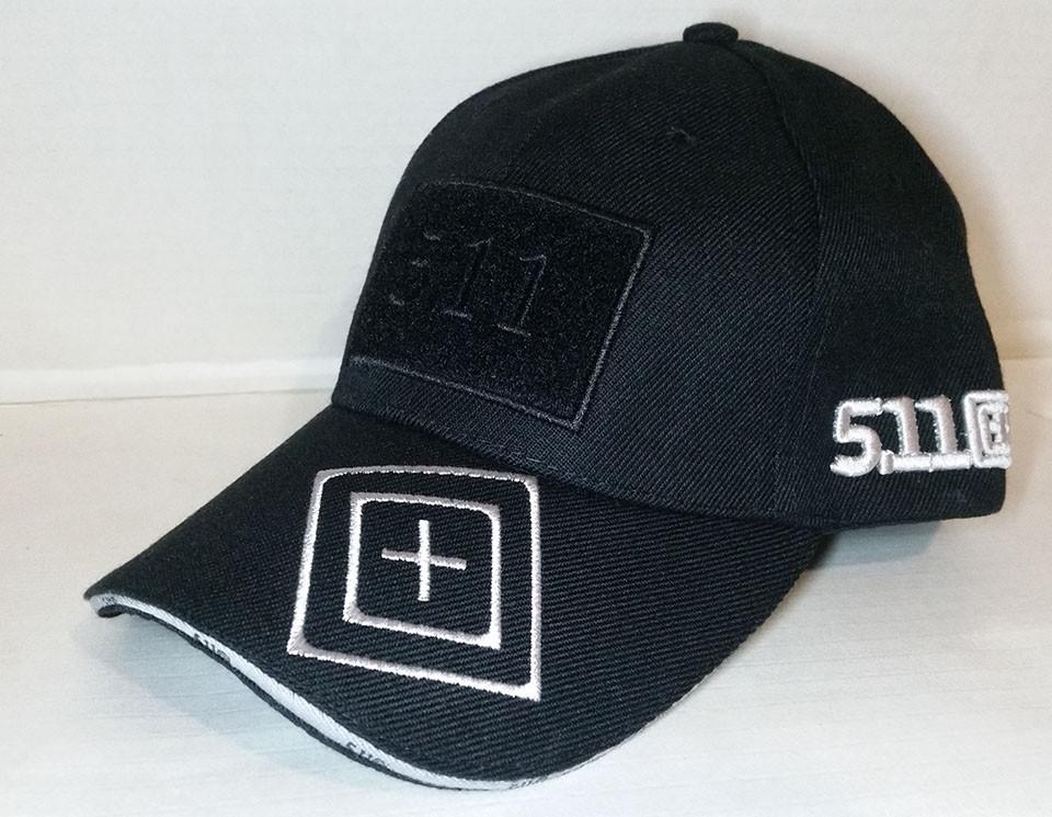 Бейсболка тактическая 5.11 с Velcro панелью чёрная (реплика) из ткани рип-стоп