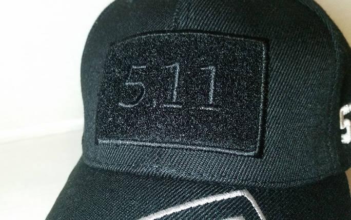 Бейсболка тактическая 5.11 с Velcro панелью чёрная (реплика) из ткани рип-стоп, фото 2