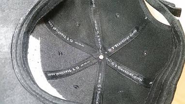 Бейсболка тактическая 5.11 с Velcro панелью чёрная (реплика) из ткани рип-стоп, фото 3