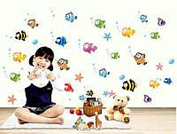 Интерьерная наклейка в детскую комнату Рыбки