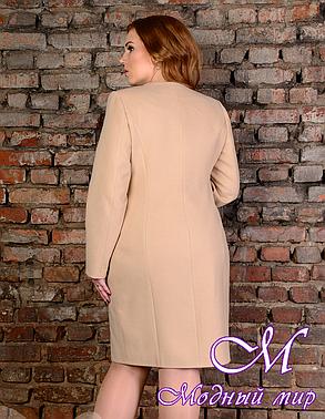 Женское бежевое пальто больших размеров (р. XL-4XL) арт. Луара лайт донна - 5812, фото 2