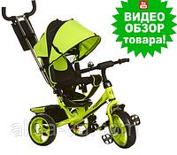 Велосипед трехколесный детский Turbo Trike M 3113-4 с ручкой, Турбо Трайк колеса пена салатовый