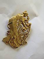 Золотая брошь 585 пробы с рубинами