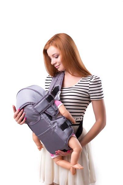 Рюкзак-переноска для детей, Украина №8 С КАПЮШОНОМ серый, 60305