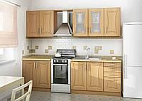 Кухня бежево-песочного цвета вариант-033 фасады фрезеровка улыбка