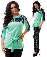 Женский красивый нарядный костюм больших размеров. Блуза и брюки. Размеры 48-54