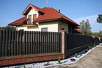 Евроштакетник металлический матовый 0,45мм и 0,5мм, штакетник декоративный (цвет под дерево), фото 4