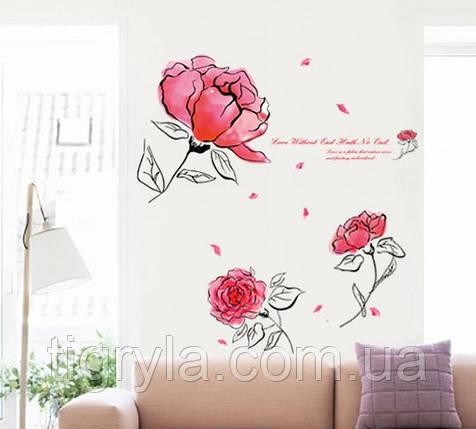 Декоративная наклейка на стену Цветы Акварель , фото 2