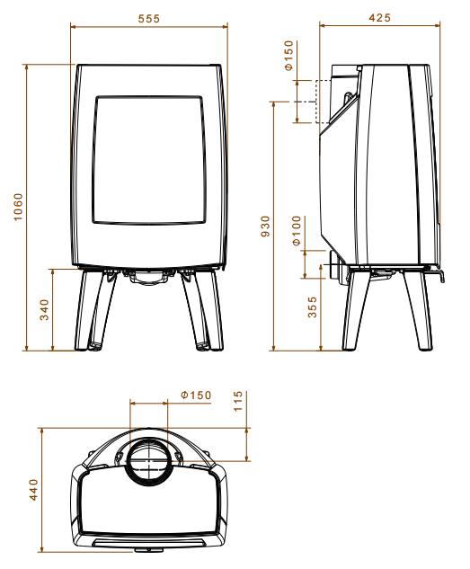 Чугунная печь Dovre Sense 303/E8 бежевая эмаль - 9 кВт