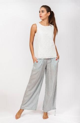 фотография женские широкие штаны в мелкую полоску