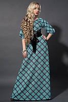Бирюзовое платье прекрасного качества длинное большого размера