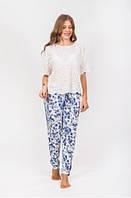 Женские летние штаны белые синими цветами