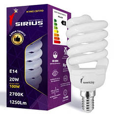 Люминесцентная лампа Сириус 20W Мягкий свет Спираль E14