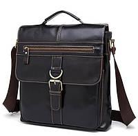6acc4d60b539 Универсальная мужская сумка в винтажном стиле формата А4 тёмно-коричневая