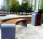 Лавка (скамья) садово-парковая без спинки с бетонным основанием №6, фото 2