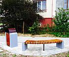 Лавка (скамья) садово-парковая без спинки с бетонным основанием №6, фото 4