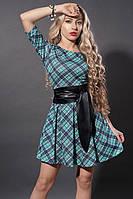 Платье 3Платье мод 373-3 размер 44,46 бирюза клетка (А.Н.Г.)