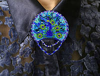 Набор для вышивки бисером украшения на натуральном художественном холсте Павлин