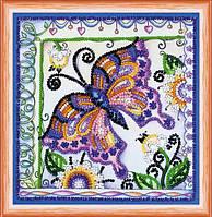 Набор для вышивки бисером Бабочка в цветах