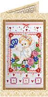Набор-открытка для вышивки бисером Нежный ангелочек