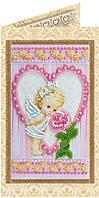 Набор-открытка для вышивки бисером Ангелочек и роза