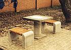 Лавка короткая садово-парковая без спинки с бетонным основанием для шахматного стола №9, фото 2