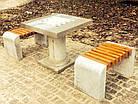 Лавка короткая садово-парковая без спинки с бетонным основанием для шахматного стола №9, фото 4