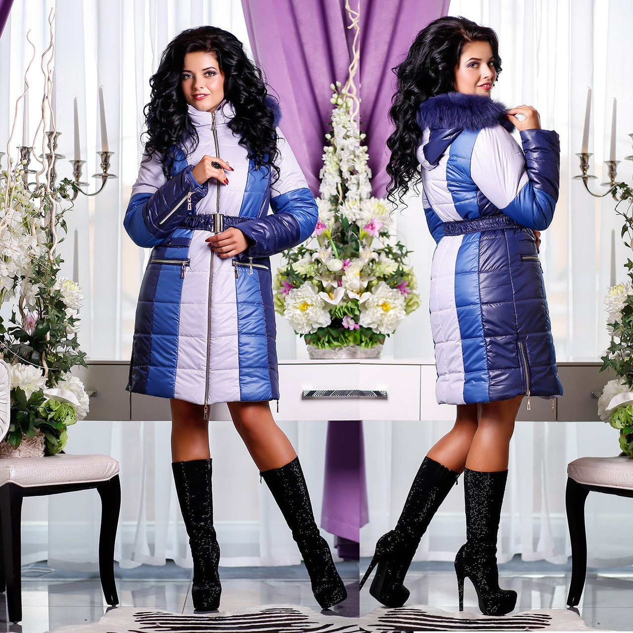 Зимняя удлиненная куртка Синтепон GT 77816  Синий