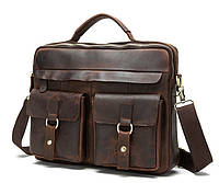 Мужская кожаная сумка-портфель BEXHILL в винтажном стиле коричневая