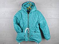 """Куртка подростковая демисезонная """"Сердца"""". 6-10 лет. Мята. Оптом."""