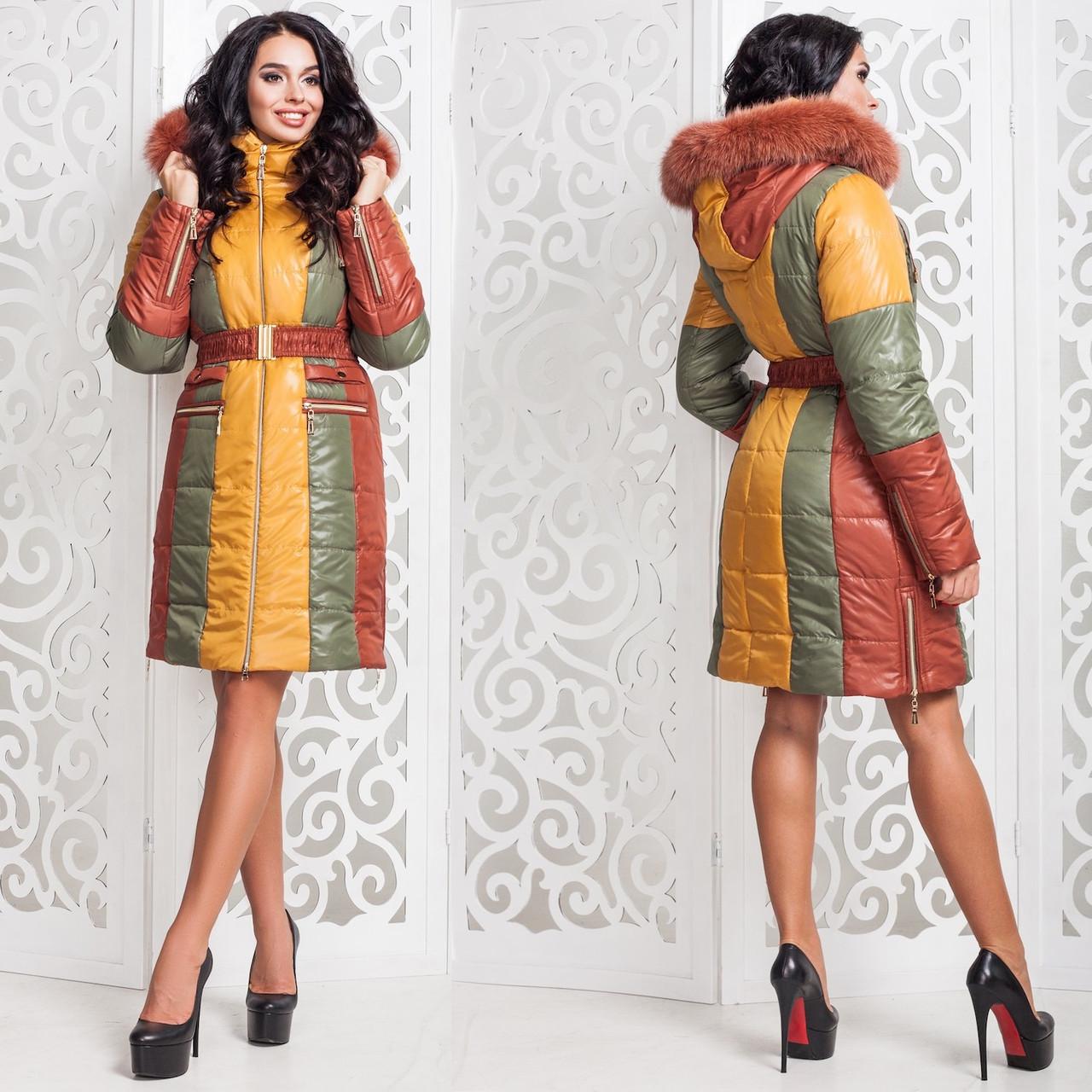 Зимняя удлиненная куртка Синтепон GT 77816  Теракот