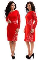 Женское красивое платье большого размера со вставками гипюра Christina красное
