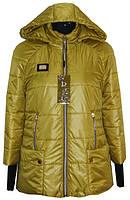 Демисезонная куртка с вязаным удлиненным манжетом