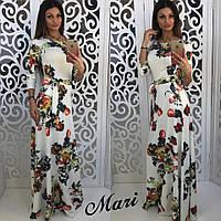 Женское стильное платье в пол с поясом (2 цвета)