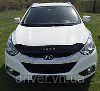 Дефлектор капота (мухобойка) Hyundai ix35 2010- /короткий, на крепежах