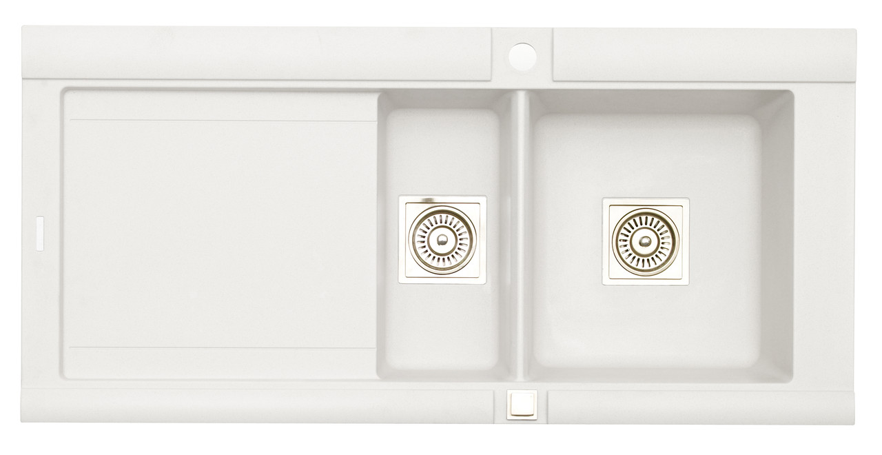 Белая полуторочашевая врезная кухонная мойка LONGRAN PREMIUM GEO 1.5 Opal White (Granite) из гранита