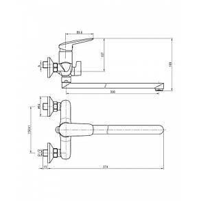 PRAHA new смеситель для ванны, L-излив 30 см, хром, 35 мм, фото 2