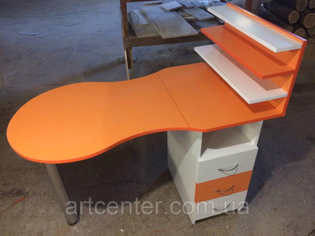 Оранжевый маникюрный стол с полочками со складной столешницей и полочками для лаков