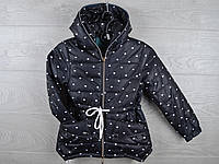 """Куртка подростковая демисезонная """"Сердца"""". 6-10 лет. Черная. Оптом."""