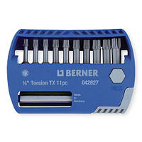 Набор бит 1/4 '' TX 10 шт. с магнитным держателем для бит, в пластиковом кейсе.