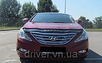 Дефлектор капота (мухобойка) Hyundai Sonata (YF) 2009-, на крепежах