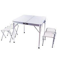 Стол раскладной + 4 стульчики-табуретки в чемодане С8833