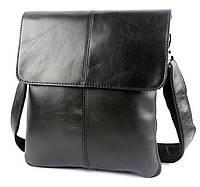 Мужская кожаная сумка-мессенджер через плечо черная