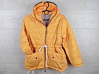 """Куртка подростковая демисезонная """"Горох"""". 6-10 лет. Оранжевая. Оптом."""