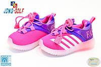 Акция к празднику! Детские кроссовки бренда JongGolf со светящейся подошвой на девочку размеры 21-25
